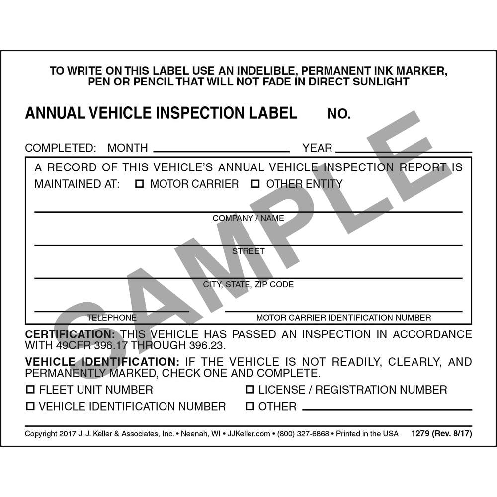Annual Vehicle Inspection Label - Vinyl w/ Mylar Laminate