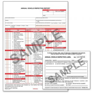 Annual Vehicle Inspection Report (Carbonless) + Label – Retail Packaging (Qty: 10 Units)
